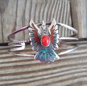 Large Sterling Native American peyote bird cuff